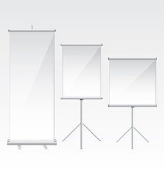 Roll up banner glass vector image