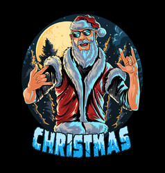 Santa claus wears glasses and a vest at a christma vector
