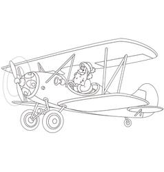 Santa flying a plane vector