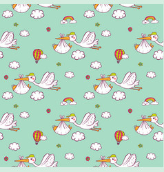 seamless pattern with cute storks carrying the vector image