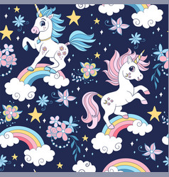Seamless pattern with unicorns and cosmic vector