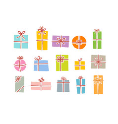 Set christmas gift boxes in soft pastel colors vector