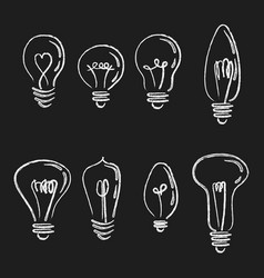 set light bulbs collection stylized energy vector image