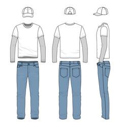 set male tee jeans baseball cap vector image