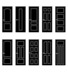 Set of black door icons vector