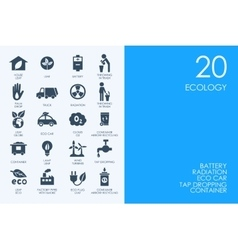 Set of BLUE HAMSTER Library ecology icons vector