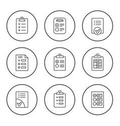 set round line icons checklist vector image