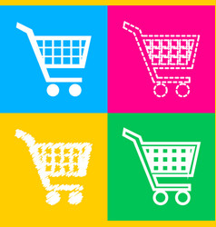 shopping cart sign four styles of icon on four vector image