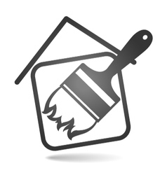 Silhouette brush and house vector