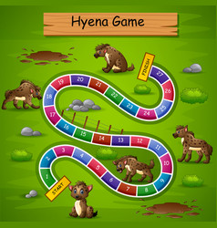 Snakes and ladders game hyena theme vector