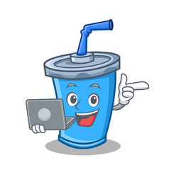 Soda drink character cartoon with laptop vector