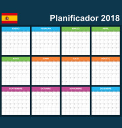 spanish planner blank for 2018 scheduler agenda vector image