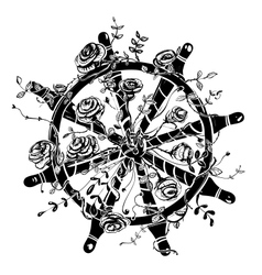 Steering Wheel with Roses vector image