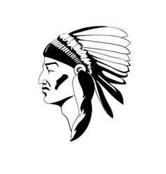 Stylized profile indian chief in vector