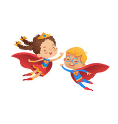 superhero children friend costume character happy vector image