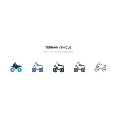 Terrain vehicle icon in different style two vector