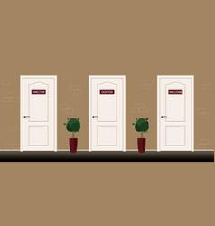 Three door with sign director doctor welcome vector