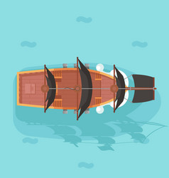 Top view vintage wooden pirate buccaneer vector