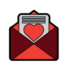 valentines day message heart love envelope open vector image