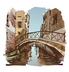 Venice cityscape drawing vector