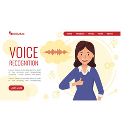 voice recognition landing page design happy girl vector image