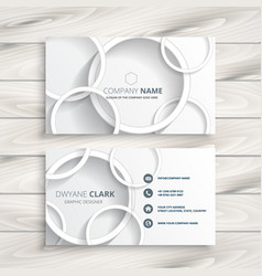 white business card with 3d circles design vector image