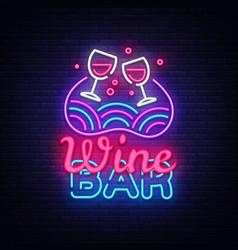 wine bar neon sign wine shop design vector image