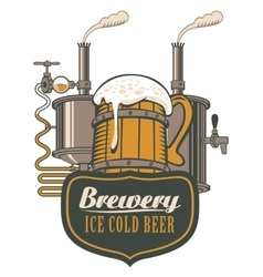 Wooden circle beer and brewing machine vector