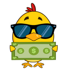 Yellow chick cartoon character wearing sunglasses vector