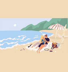 young couple sitting and relaxing on picnic vector image