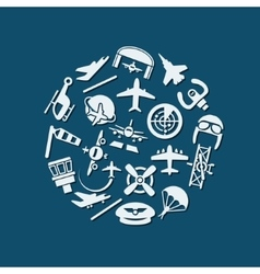 aviation icons in circle vector image