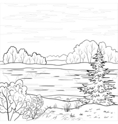 Landscape forest river outline vector