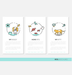 Pets business brochure linear thin line icons vector