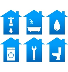 set of bathroom icons with house silhouette vector image vector image