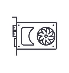 sound cardvideo card line icon sign vector image vector image