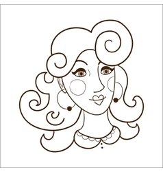 Stylish woman face vector image