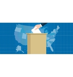 usa map vote election hand holding ballot paper vector image