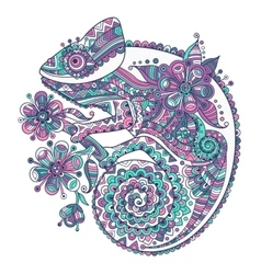 with a chameleon and beautiful vector image