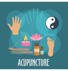Alternative medicine icon with acupuncture therapy vector image