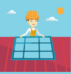 constructor installing solar panel vector image