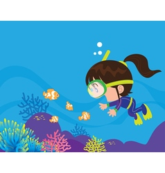 Cute girl diver under the sea vector image