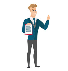 groom with clipboard giving thumb up vector image vector image