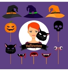 Halloween party fashion girl items vector image