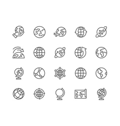 Line Globe Icons vector image vector image