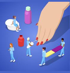 people making manicure applying nail polish vector image