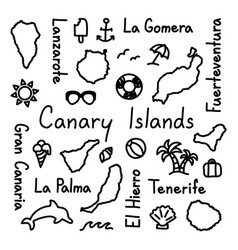 canary islands hand drawn doodle outline summer vector image