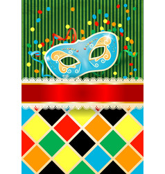 carnival background with mask and copyspace vector image