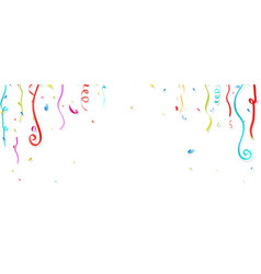 colorful confetti and streamer on white background vector image vector image
