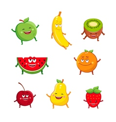 Funny fruits characters cartoon set vector image