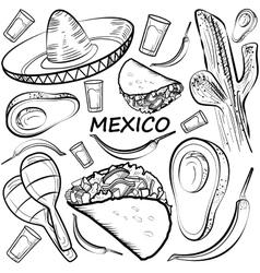 Hand drawn doodle Mexico set vector image vector image